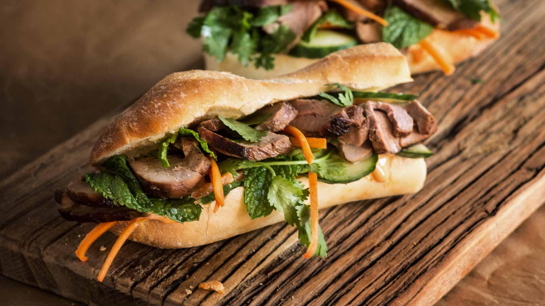 Crunchy Caramelised Pork Banh Mi Roll
