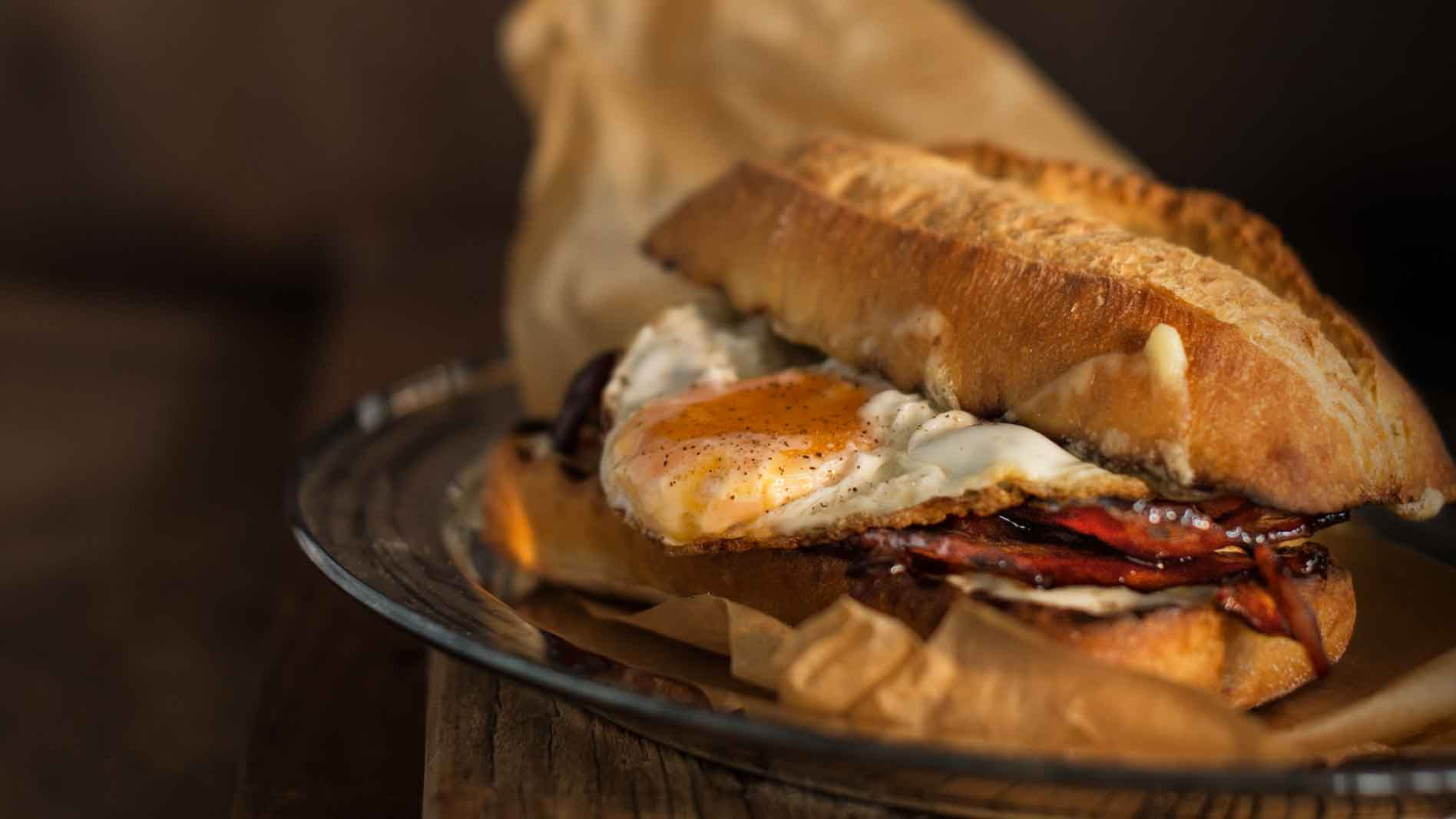 Egg and Honey Bacon Roll with Tabasco Mayonnaise