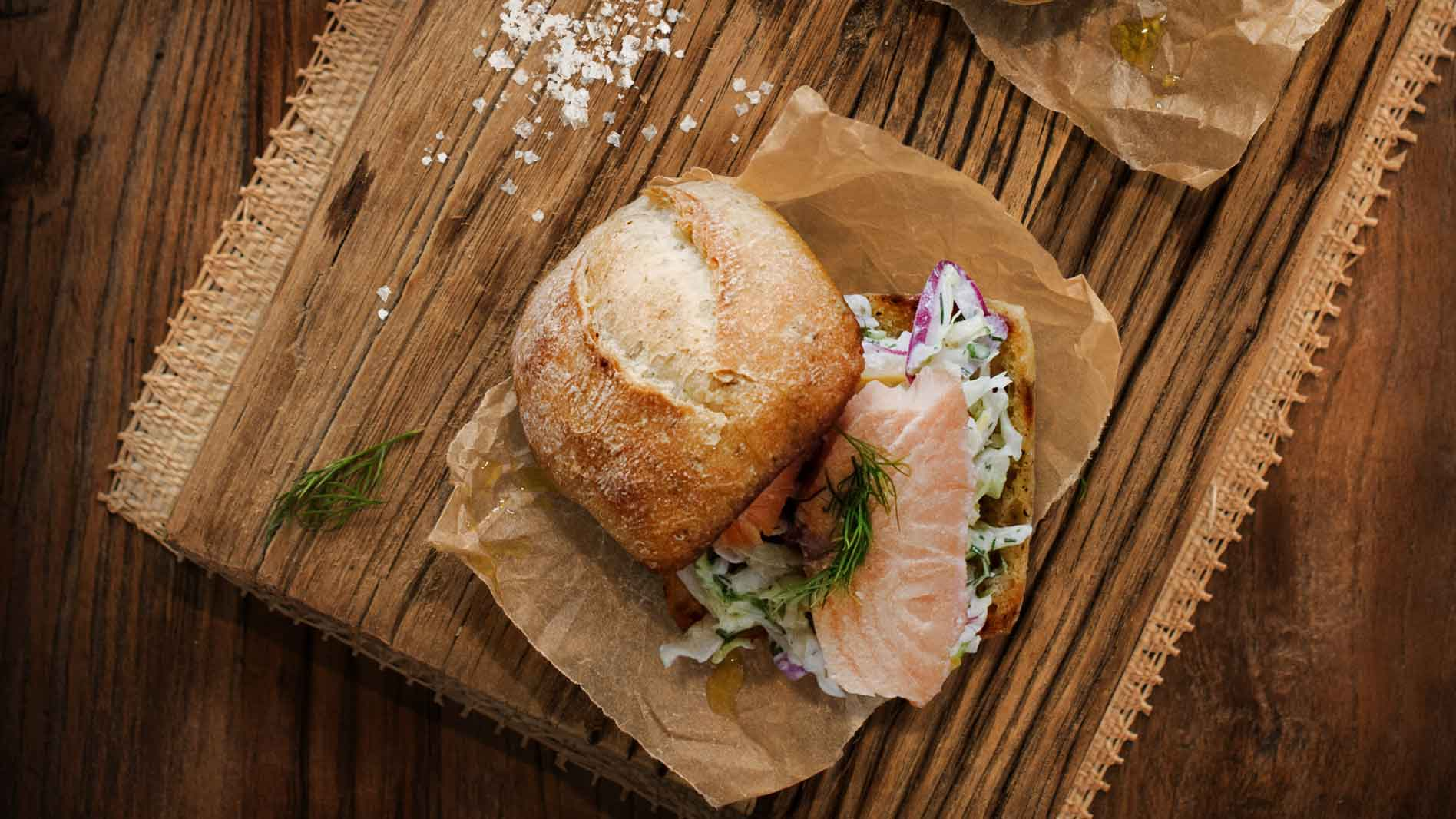 Hot Smoked Salmon Slider with Preserved Lemon and Dill