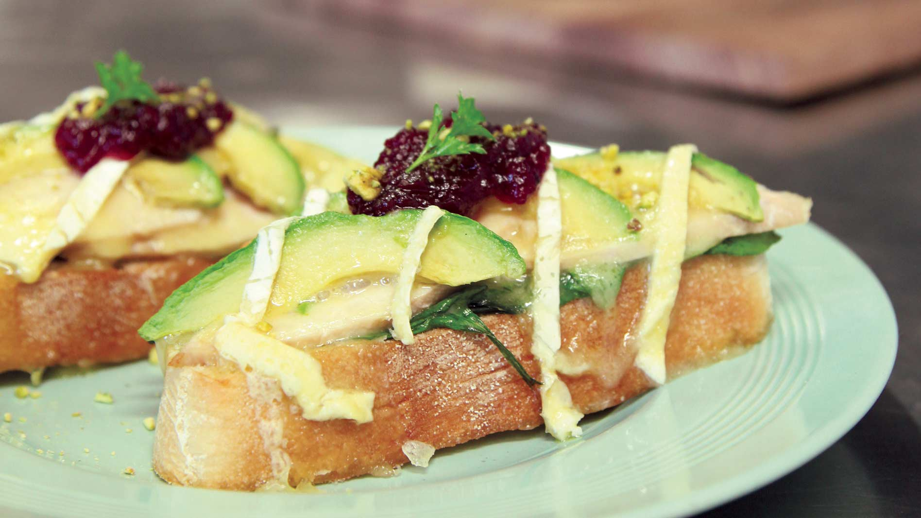 Roasted Turkey and Cranberry Melt with Avocado, Spinach and Brie