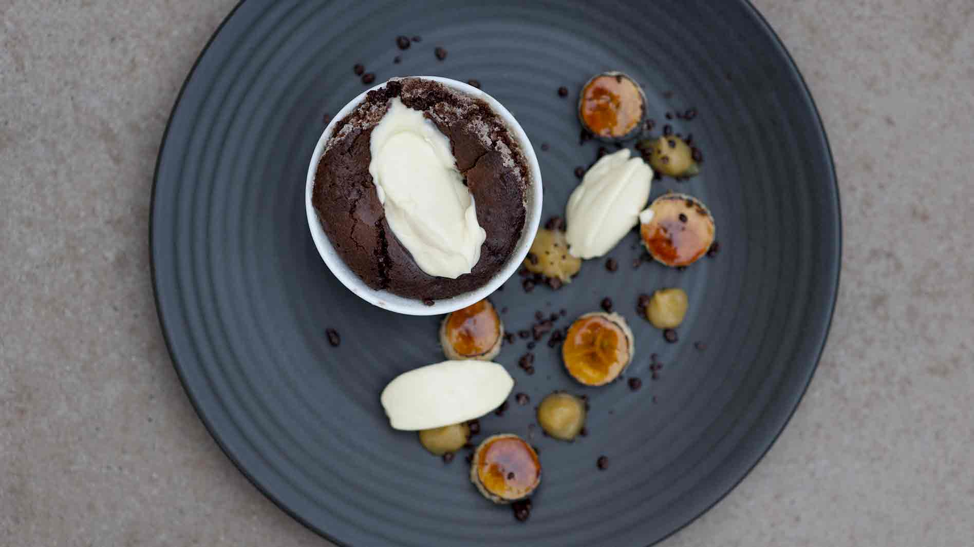 Chocolate Self Saucing Pudding, with Creme Fraiche and Salted Caramel