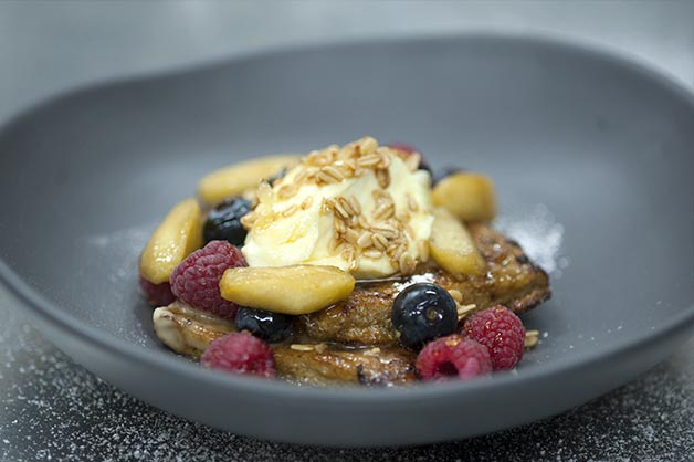 Apple Crumble French Toast with Vanilla Mascarpone and Toasted Oats