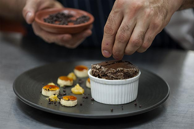 Chocolate Self Saucing Pudding, with Crème Fraiche and Salted Caramel