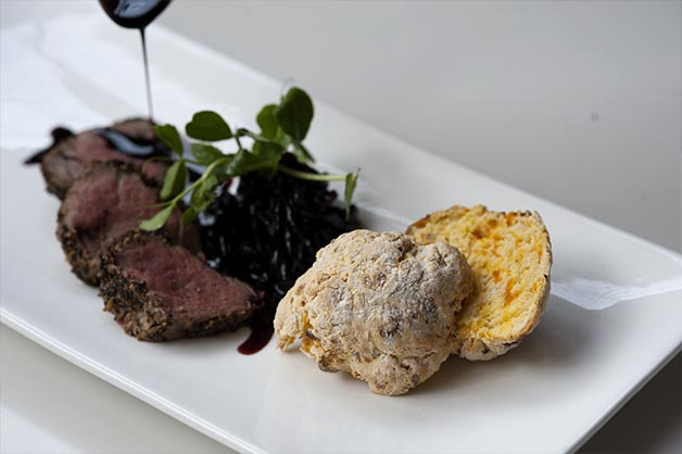 Pumpkin Scone with Peppered Veal Fillet