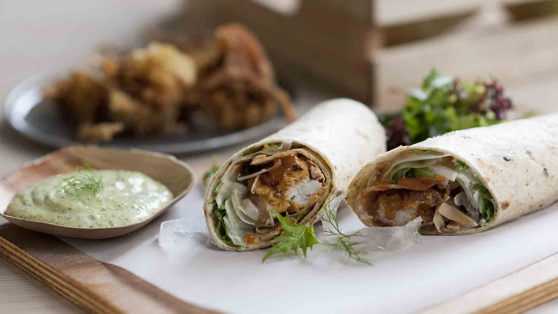 Polenta Crusted Soft Shell Crab Wrap