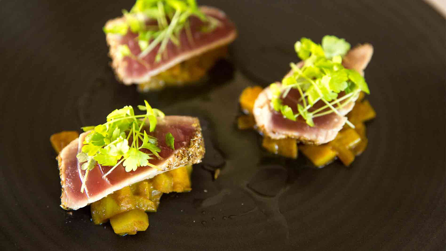 Spice Crusted Tuna with Pickled Quince and Fennel Chutney