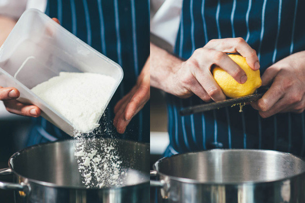 Add lemon to cheesecake mix