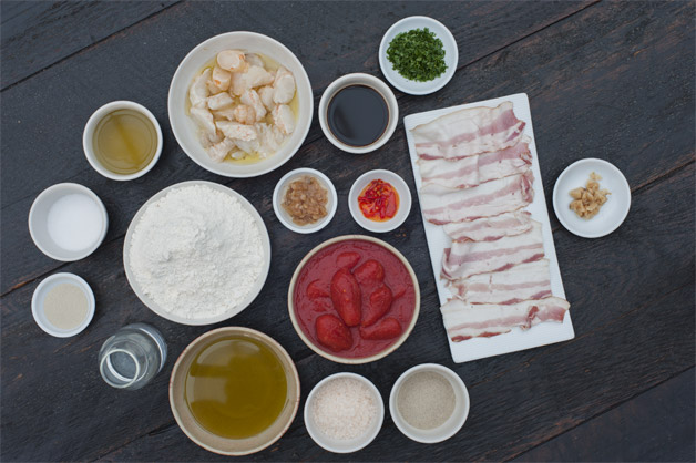 Lobster Pizza Raw Ingredients