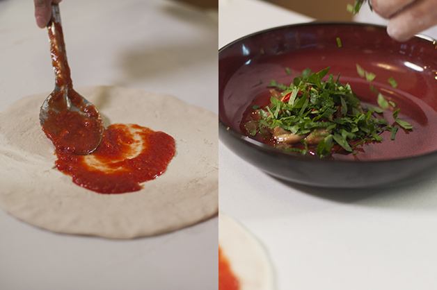 Tomato base and lobster marinade