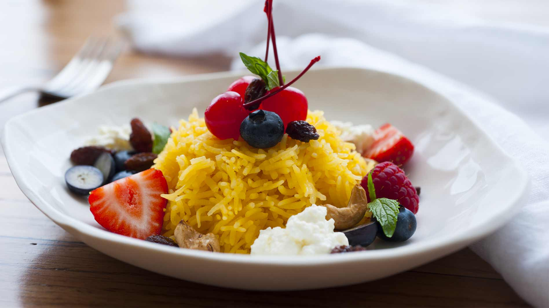 Zarda Rice with Mixed Berries and Cherries