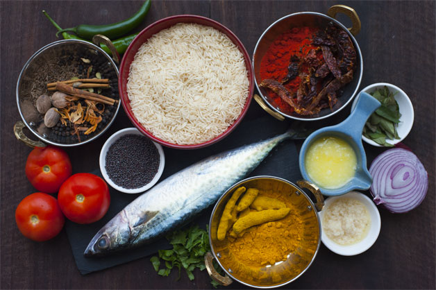 Raw Ingredients for King Fish Pulao