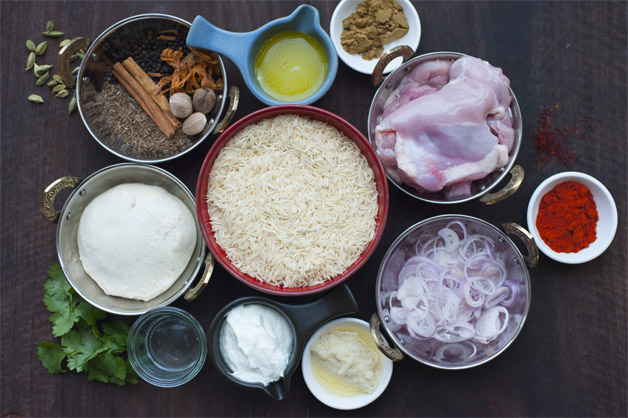Raw ingredients for chicken biryani recipe