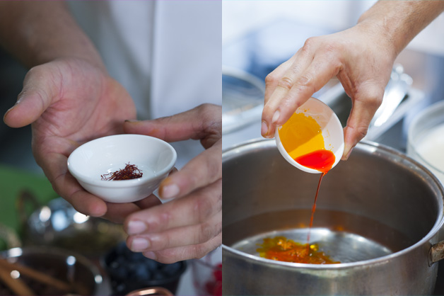 Saffron being adding into the pot of water