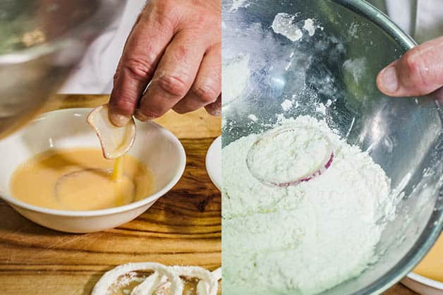 Dipping onion rings in egg and flour