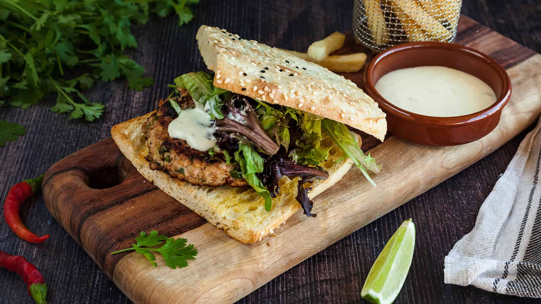 Coriander and Chilli Infused Chicken Burger with Lime Mayonnaise