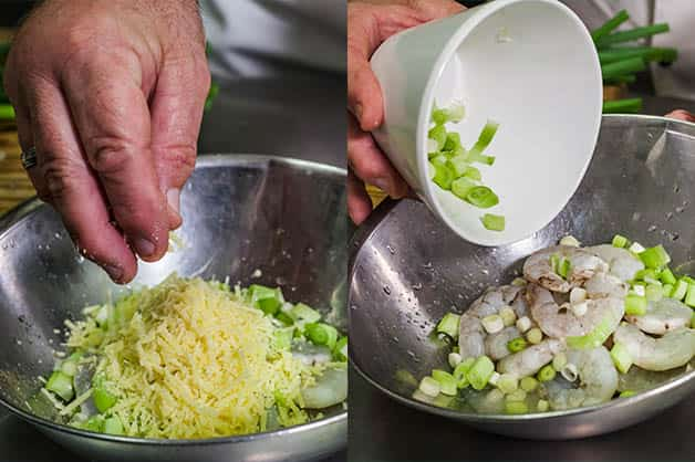 Adding ingredients to the soaked prawns