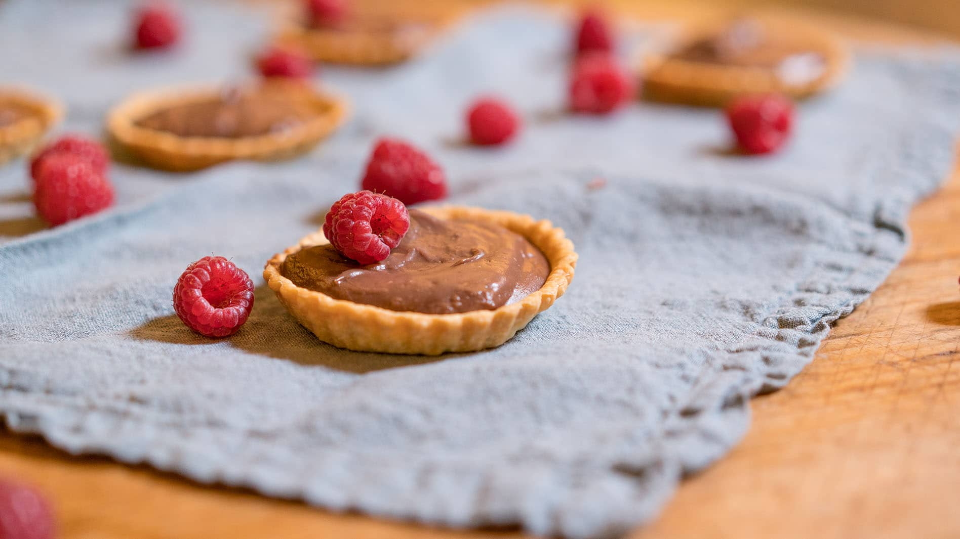 Nutella Tartlets with fresh raspberries
