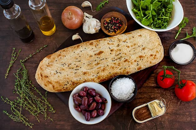 Raw ingredients for Turkish Bread Pissaldiere dish