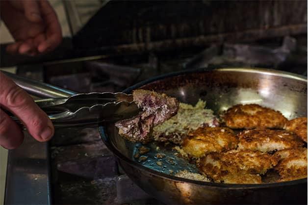 Frying the pork