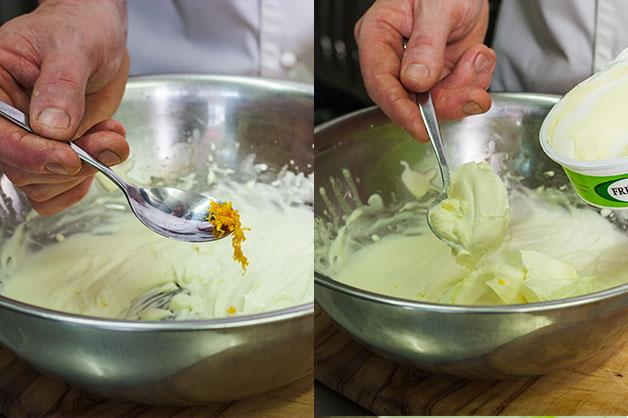 Adding orange zest and whipping