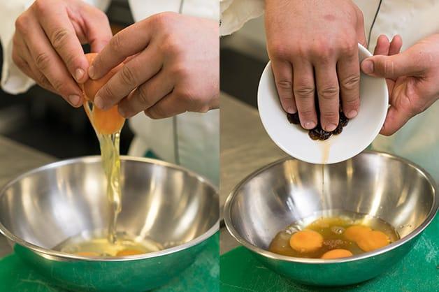 Mixing egg and raisins