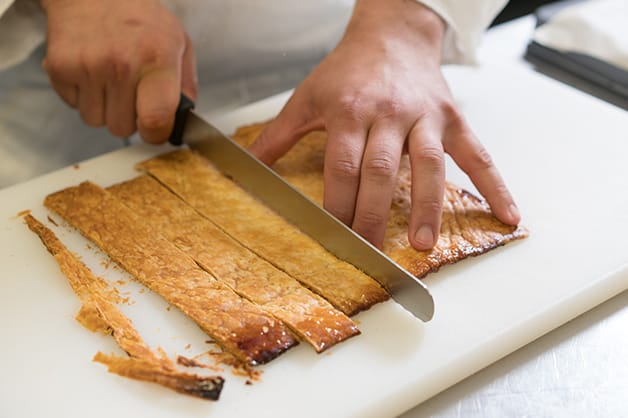Slicing the pastry