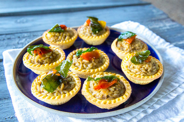 Mushroom and Spinach Tartlets, Plated