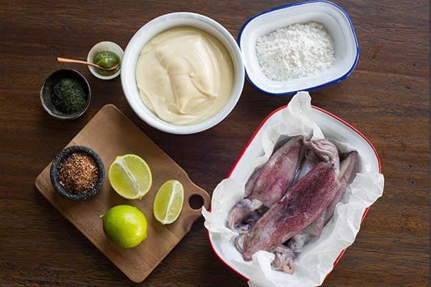 Raw ingredients for squid dish