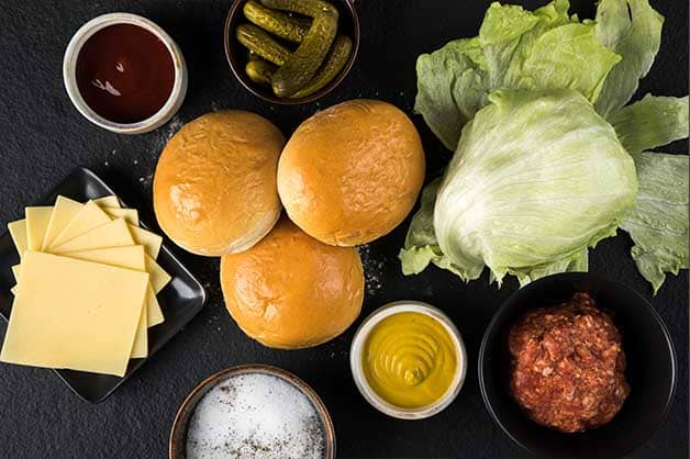 Image of the raw ingredients used for the beef and cheese burger