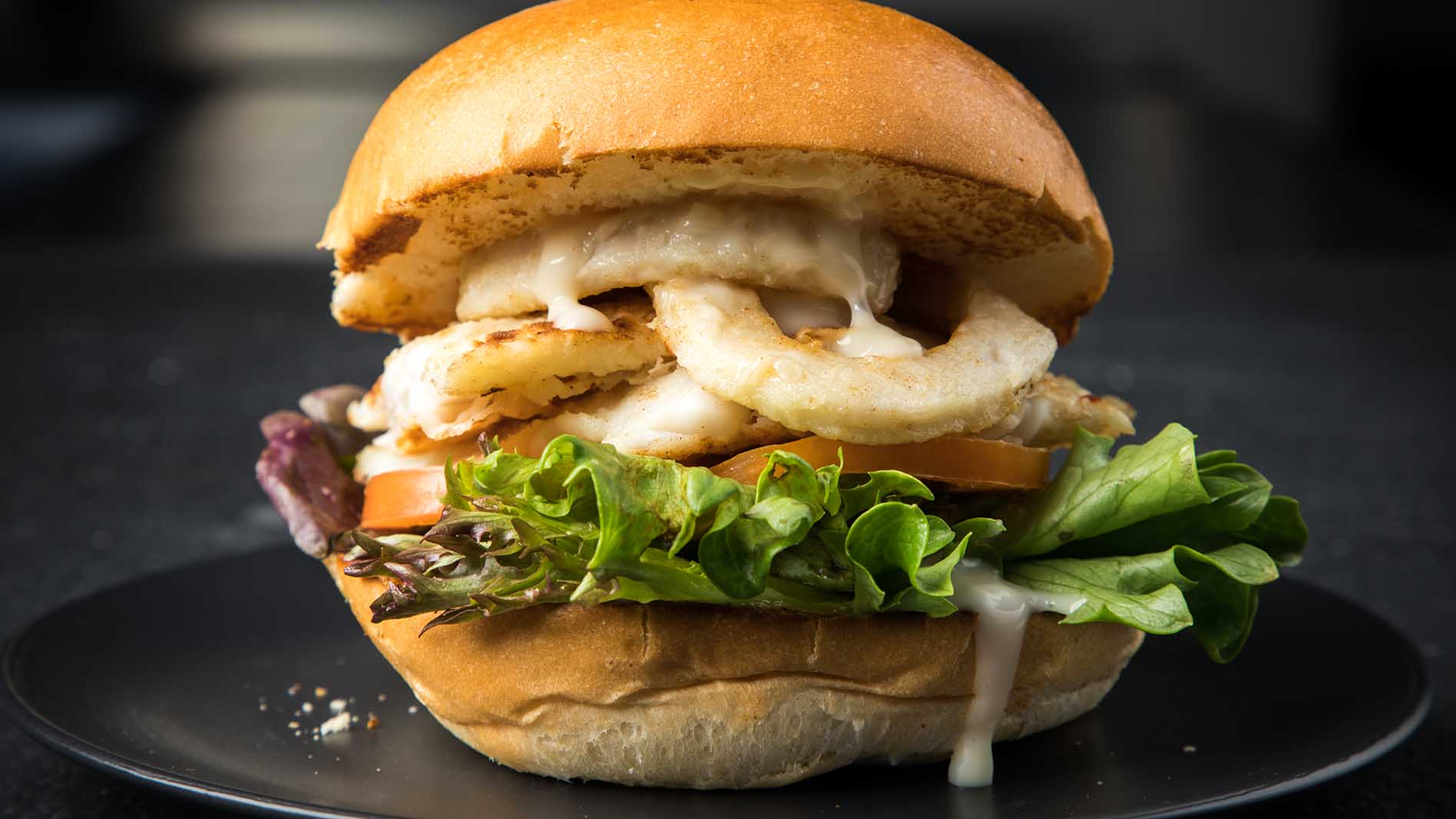 Fish and calamari burger