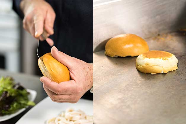 Chef slicing a milk bun