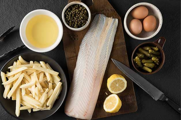 Image of the raw ingredients for the fish and chips recipe