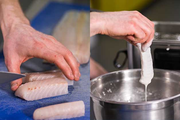 An image of the chef slicing the fish and covering it in batter