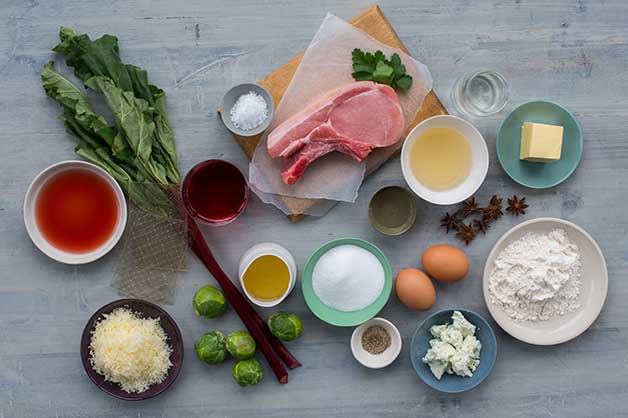 Image of the raw ingredients for the slow braised pork cutlet recipe