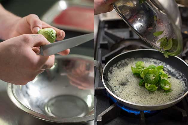 Chef peeling then boiling the brussels over the stove