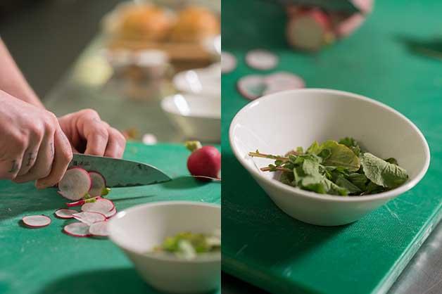 The chef is seen creating his radish salad
