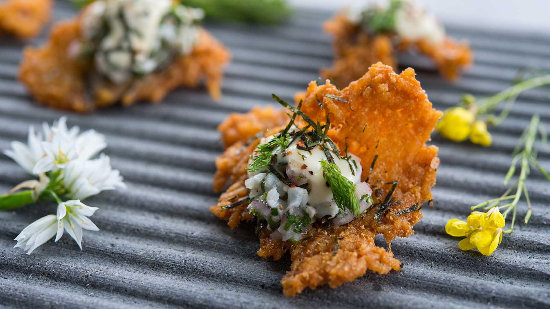 Prawn Tartare on Furikake Rice Crackers