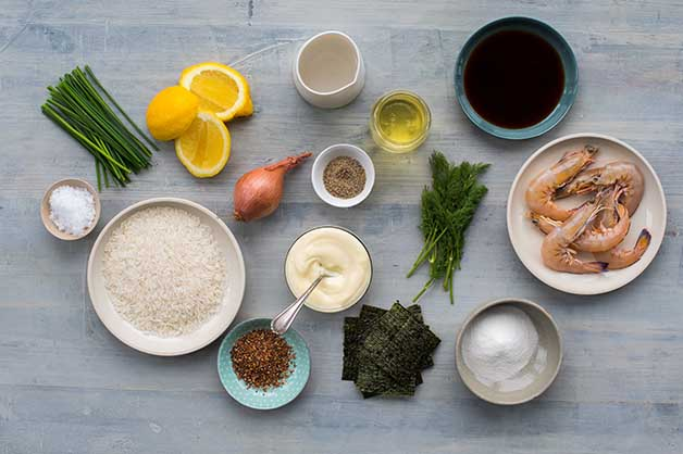 An image showing all of the ingredients for the prawn tartare recipe