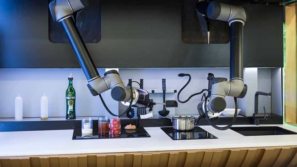 An image of the robotic kitchen by UK company, Moley