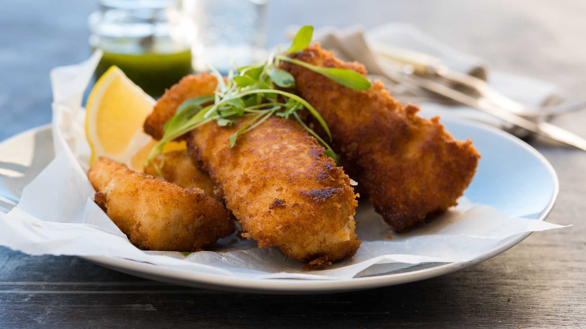Crumbed Flathead Fillets with Spicy Zhoug Dressing