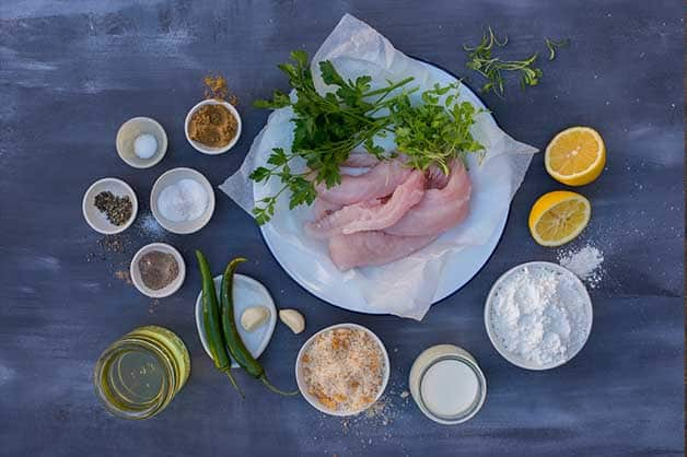 Image of the raw ingredients used in the flathead fillets recipe
