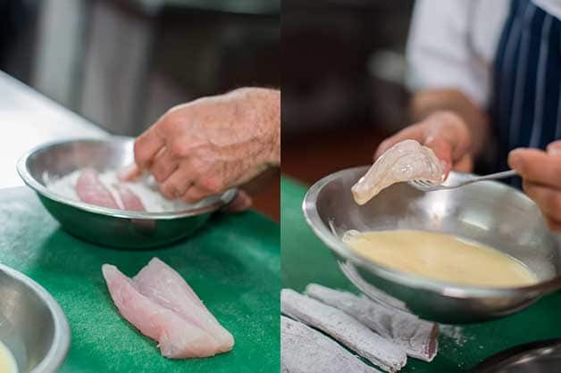 Then, the chef is seen coating the flathead fillets with flour, egg and breadcrumbs