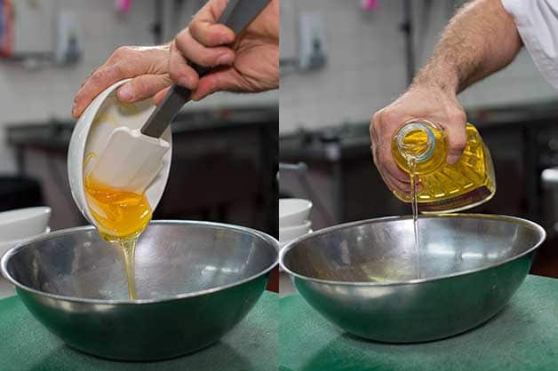 In a separate bowl, the chef combines the honey and oil