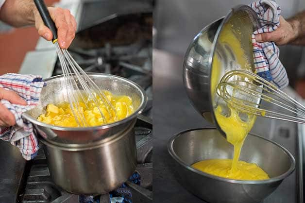 The chef is combining ingredients for the lemon curd