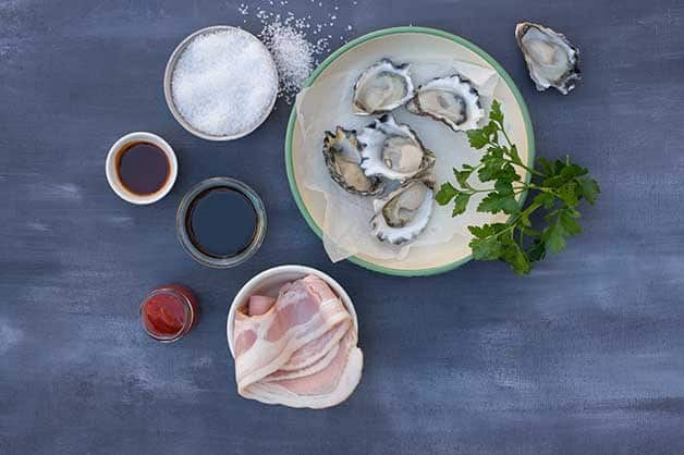 Photo of the raw ingredients used for the oysters Kilpatrick dish