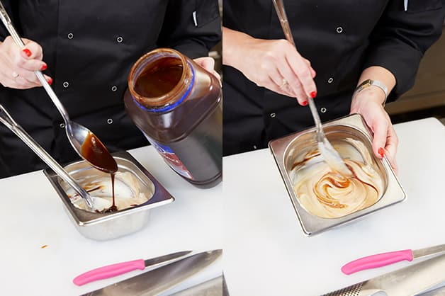 Here the chef is seen combining the bbq sauce and mayonnaise
