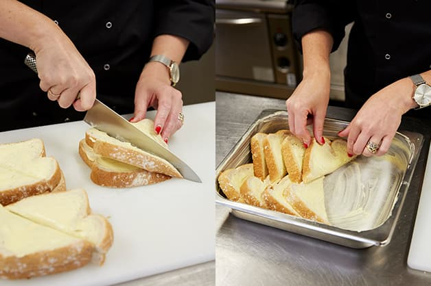 The chef is pictured slicing the bread and placing it in the baking dish