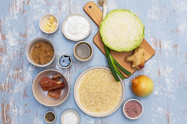 Image of the raw ingredients for myanman pork pot