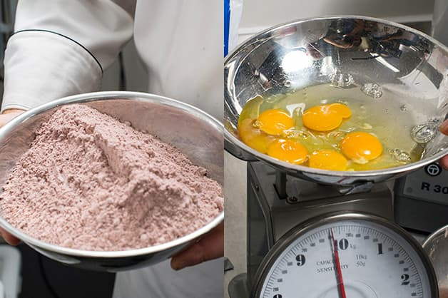 Image shows the chocolate cake mix and eggs