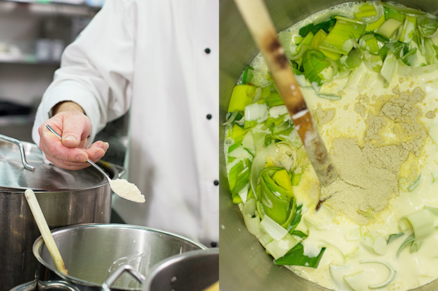 Chef is seen adding ingredients into the white sauce mix